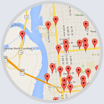 Map of Average Daily Traffic counts from locations throughout Wilmington, NC